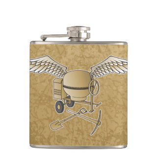 Concrete mixer beige hip flask