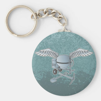 Concrete mixer blue-gray basic round button keychain