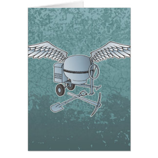 Concrete mixer blue-gray card