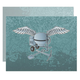 Concrete mixer blue-gray card