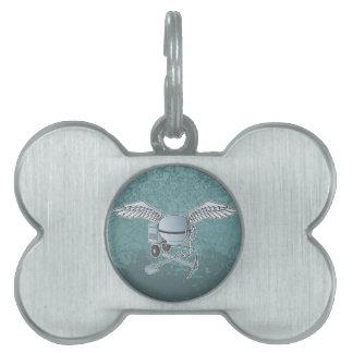 Concrete mixer blue-gray pet name tag