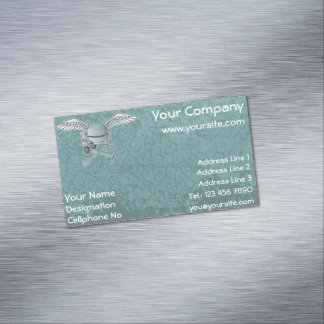 Concrete mixer blue-grey magnetic business card