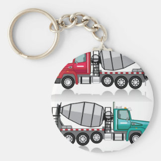 Concrete mixer Truck Basic Round Button Keychain