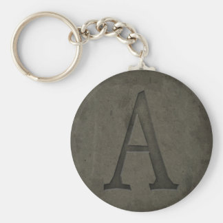 Concrete Monogram Letter A Basic Round Button Keychain
