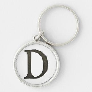 Concrete Monogram Letter D Keychains