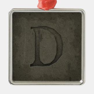 Concrete Monogram Letter D Silver-Colored Square Ornament