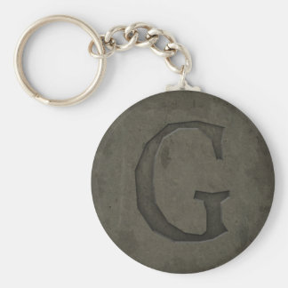 Concrete Monogram Letter G Basic Round Button Keychain