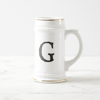 Concrete Monogram Letter G Beer Stein