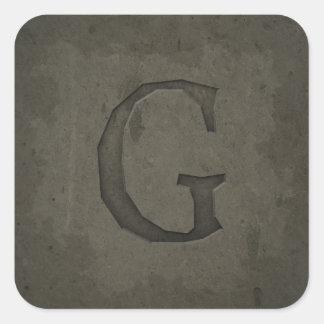 Concrete Monogram Letter G Square Sticker
