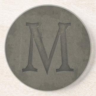 Concrete Monogram Letter M Beverage Coaster