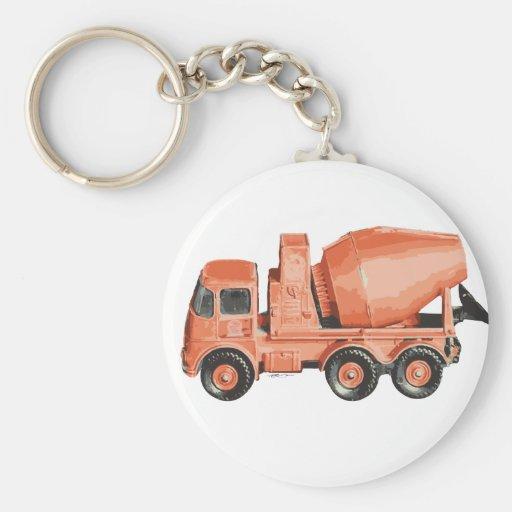 Concrete Orange Cement Toy Truck Key Chains