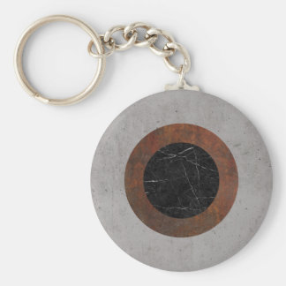 Concrete, Rusted Iron, and Black Marble Abstract Basic Round Button Keychain
