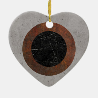 Concrete, Rusted Iron, and Black Marble Abstract Ceramic Heart Ornament