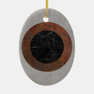 Concrete, Rusted Iron, and Black Marble Abstract Ceramic Oval Ornament