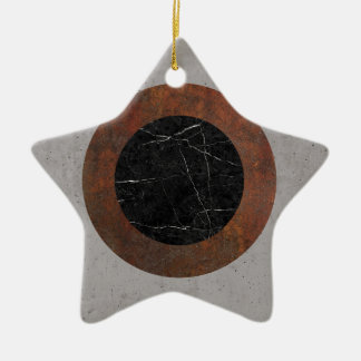 Concrete, Rusted Iron, and Black Marble Abstract Ceramic Star Ornament