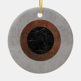 Concrete, Rusted Iron, and Black Marble Abstract Round Ceramic Ornament