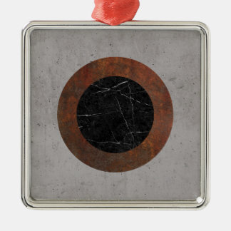 Concrete, Rusted Iron, and Black Marble Abstract Silver-Colored Square Ornament