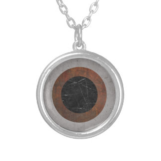Concrete, Rusted Iron, and Black Marble Abstract Silver Plated Necklace