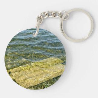 Concrete slab in pond Double-Sided round acrylic keychain