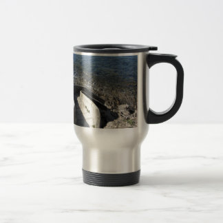 Concrete staircase down to the sea . Spiral stairs Travel Mug
