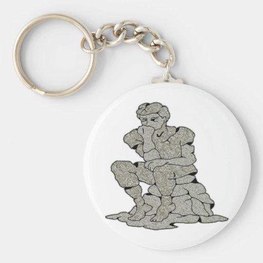 Concrete Stone Thinker Tattoo Key Chains