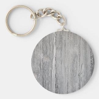 Concrete Wood Basic Round Button Keychain