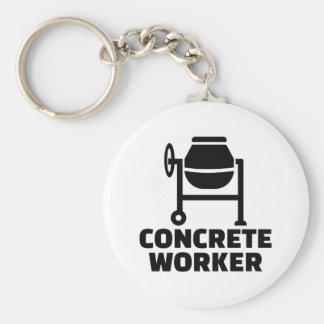 Concrete worker basic round button keychain