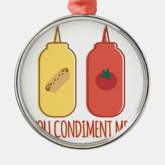Condiment Me Silver-Colored Round Ornament