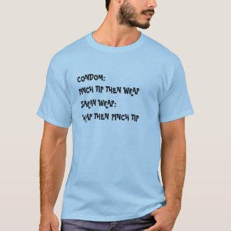 CONDOM:, PINCH TIP THEN WRAP, SARAN WRAP:, WRAP... T-Shirt