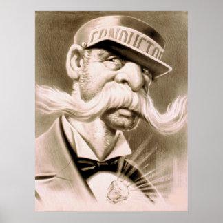 Conductor Huge Moustache Retro Vintage Poster