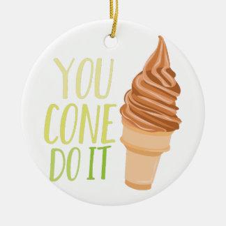 Cone Do It Round Ceramic Ornament
