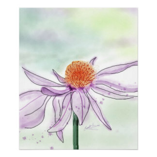 Cone Flower Watercolor Poster