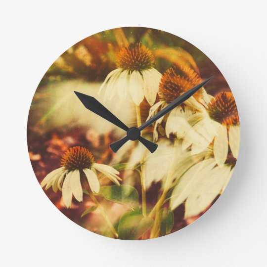 Cone Flowers (Warm Colours) Round Clock