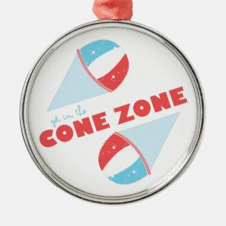 Cone Zone Silver-Colored Round Ornament