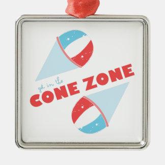 Cone Zone Silver-Colored Square Ornament