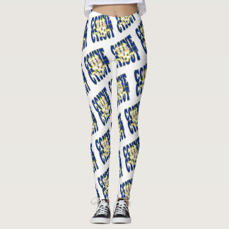 Conecticut state flag text pattern leggings