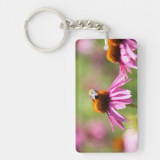 Coneflower and Honey Bee Keychain