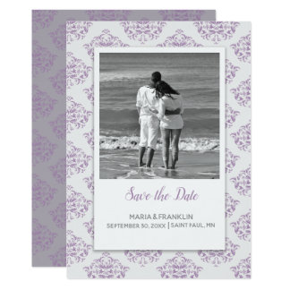 Coneflower Elegant Damask Save the Date Card