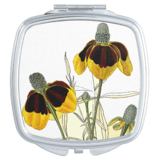 Coneflower Flower Botanical Floral Compact Mirror