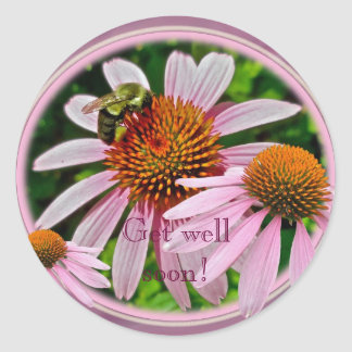 Coneflower Get Well Soon Classic Round Sticker