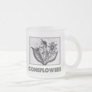 Coneflowers 10 Oz Frosted Glass Coffee Mug