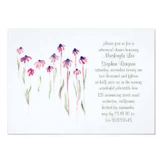 Coneflowers Rehearsal Dinner Watercolor Invitation