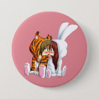 Conejito and Tigre, Chibi 3 Inch Round Button