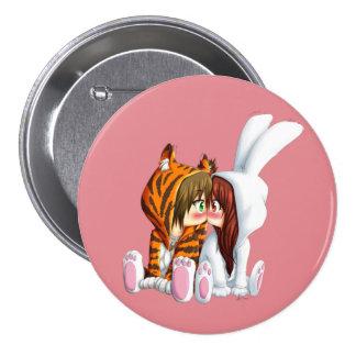 Conejito and Tigre, Chibi 3 Inch Round Button