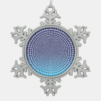 Conentric Binary Snowflake Pewter Christmas Ornament