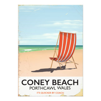 Coney Beach Porthcawl Wales travel poster