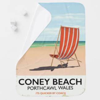 Coney Beach Porthcawl Wales travel poster Baby Blanket