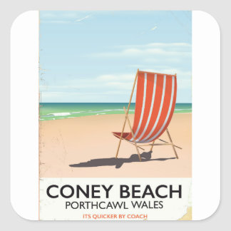 Coney Beach Porthcawl Wales travel poster Square Sticker