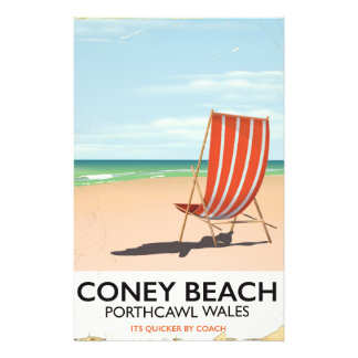 Coney Beach Porthcawl Wales travel poster Stationery