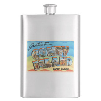Coney Island #2 New York NY Old Travel Souvenir Flasks